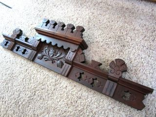 Ornate Spoon Carved Eastlake Furniture Pediment Walnut Pierced Stars Header Old photo