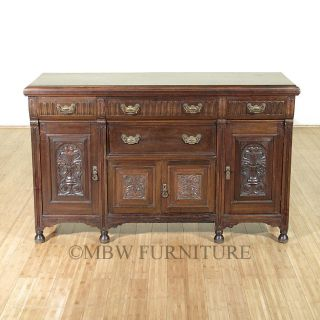 Antique English Walnut Edwardian 5ft Buffet Sideboard Server C1900 P83 photo