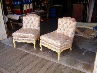 2 A Pair Of Hollywood Regency Billy Haines Era 1940s 1950s Slipper Chairs Chair photo