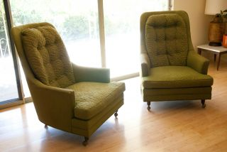2 Vintage Mid Century Modern High Back Chairs Moss Green Upholstery photo