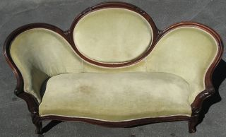 Antique Walnut Medallion Back Carved Floral Victorian Sofa Chaise photo