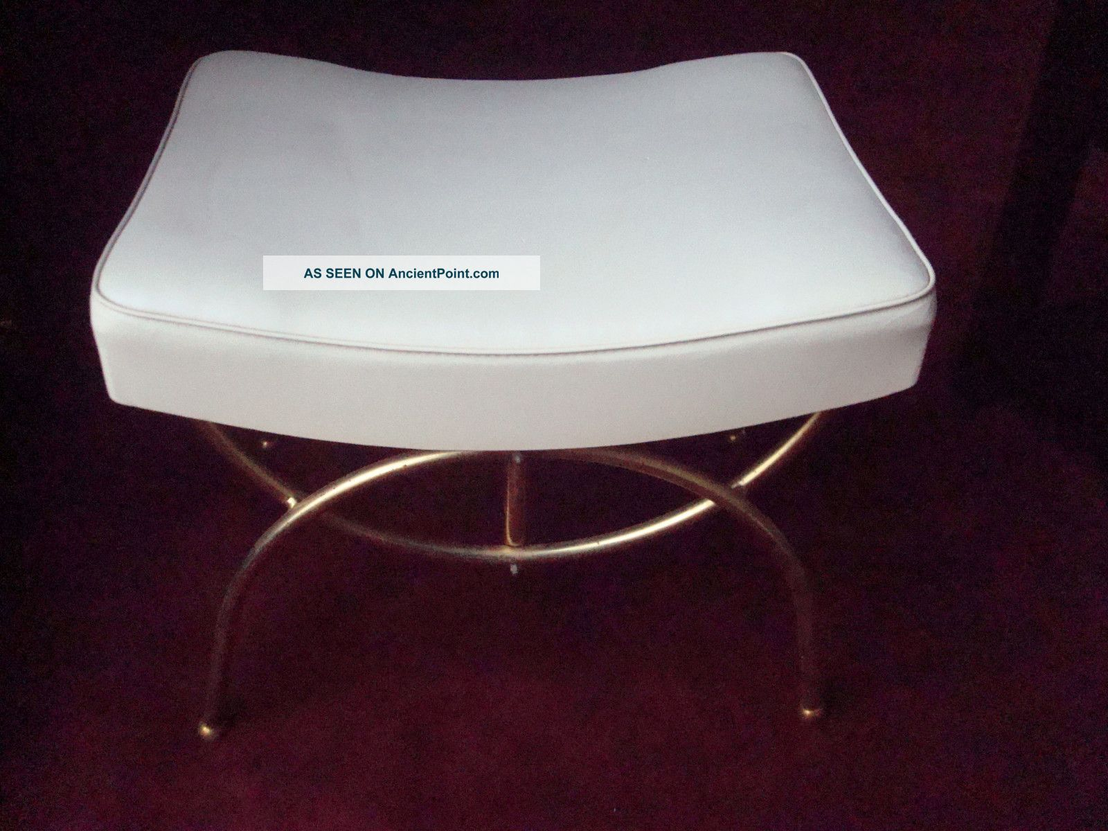 Danish Retro White Vinyl Footstool Stool Bench Sofa Couch Ottoman