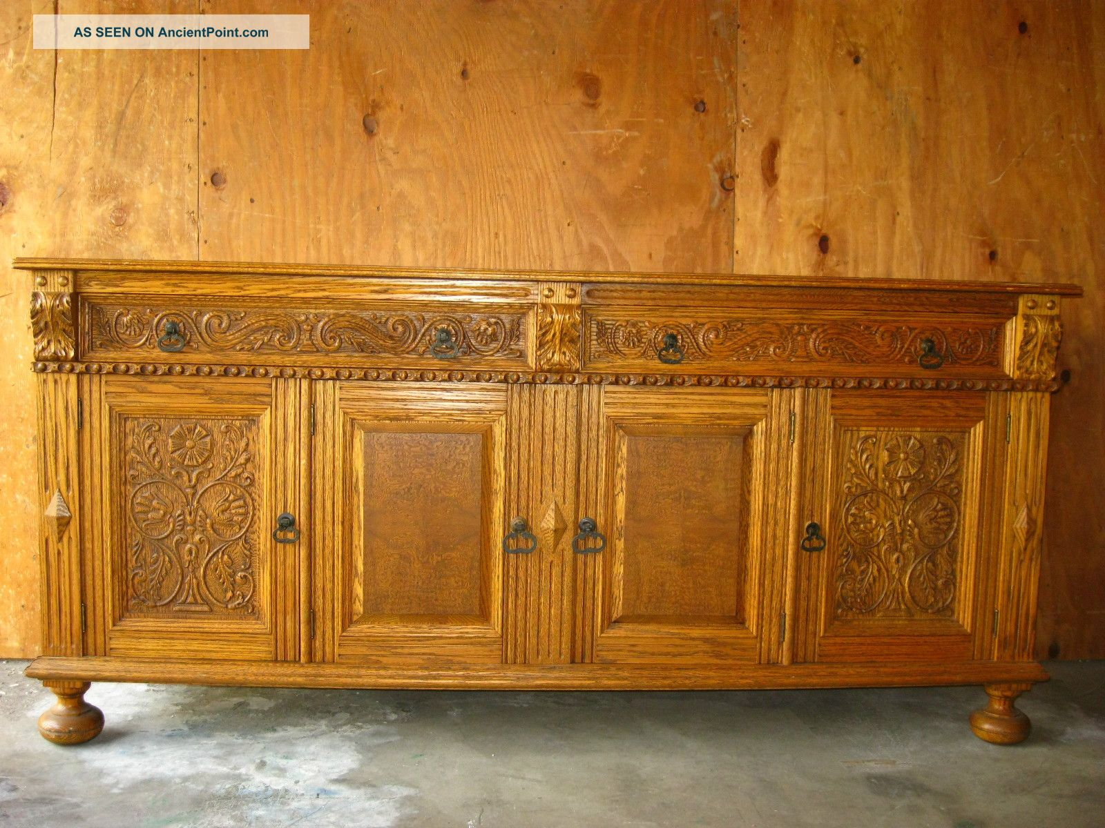 (1of3) Vintage Ornate French Country Renaissance Style Buffet Sideboard Credenza Post-1950 photo