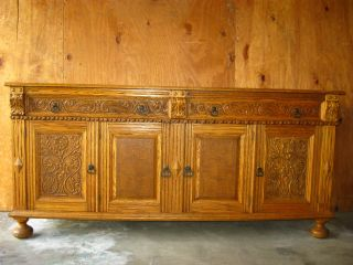 (1of3) Vintage Ornate French Country Renaissance Style Buffet Sideboard Credenza photo