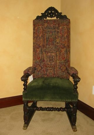 Vintage Spanish Revival Throne Arm Chair French Renaissance Carved Barley Twist photo