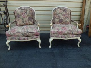50853 Pair Thomasville French Bergere Armchair S Chair Shabby Decorator photo