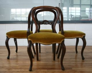 Antique Victorian Balloon Back Chair Mahogany Louis Dining photo