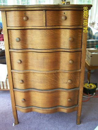 Vintage Curved Drawer Oak Dresser/ Chest Of Drawers,  New Hampshire photo
