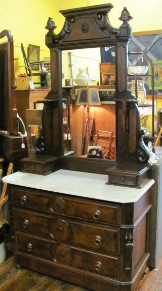 Antique Walnut Dresser & Mirror With Marble Top photo