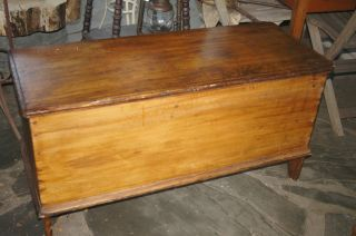 Primitive Antique Blanket Chest Six Board Construction Old Estate Find photo