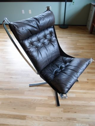 Vintage 1970 Sigurd Resell High Backed Chrome Framed,  Leather Falcon Chair photo