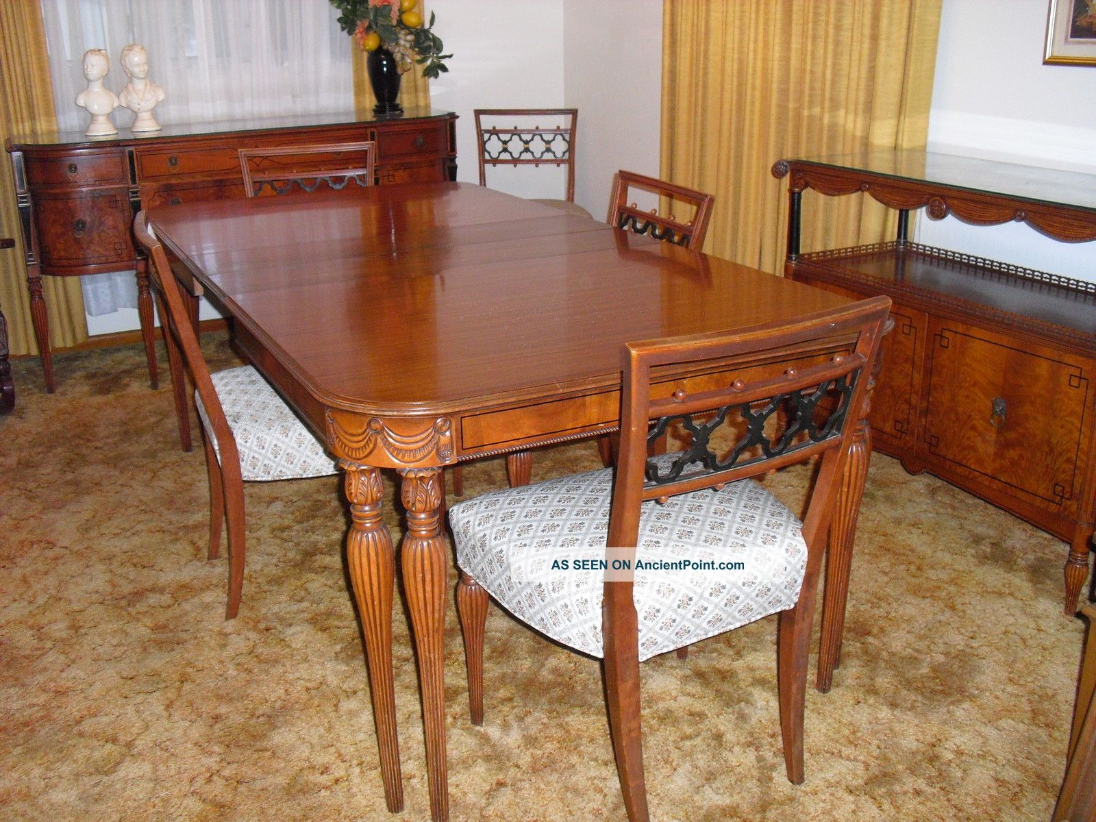 Pin antique dining room tables often come with beautiful for Antique dining room sets