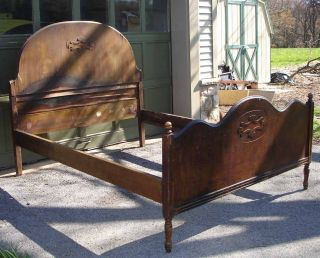 Vintage Antique Walnut Veneer Wood Double Full Size Bed W/ Foot Board And Rails photo
