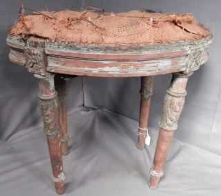 Antique Distressed Louis Xvi Stool Old Grungy Paint Oval To Restore Carved Wood photo