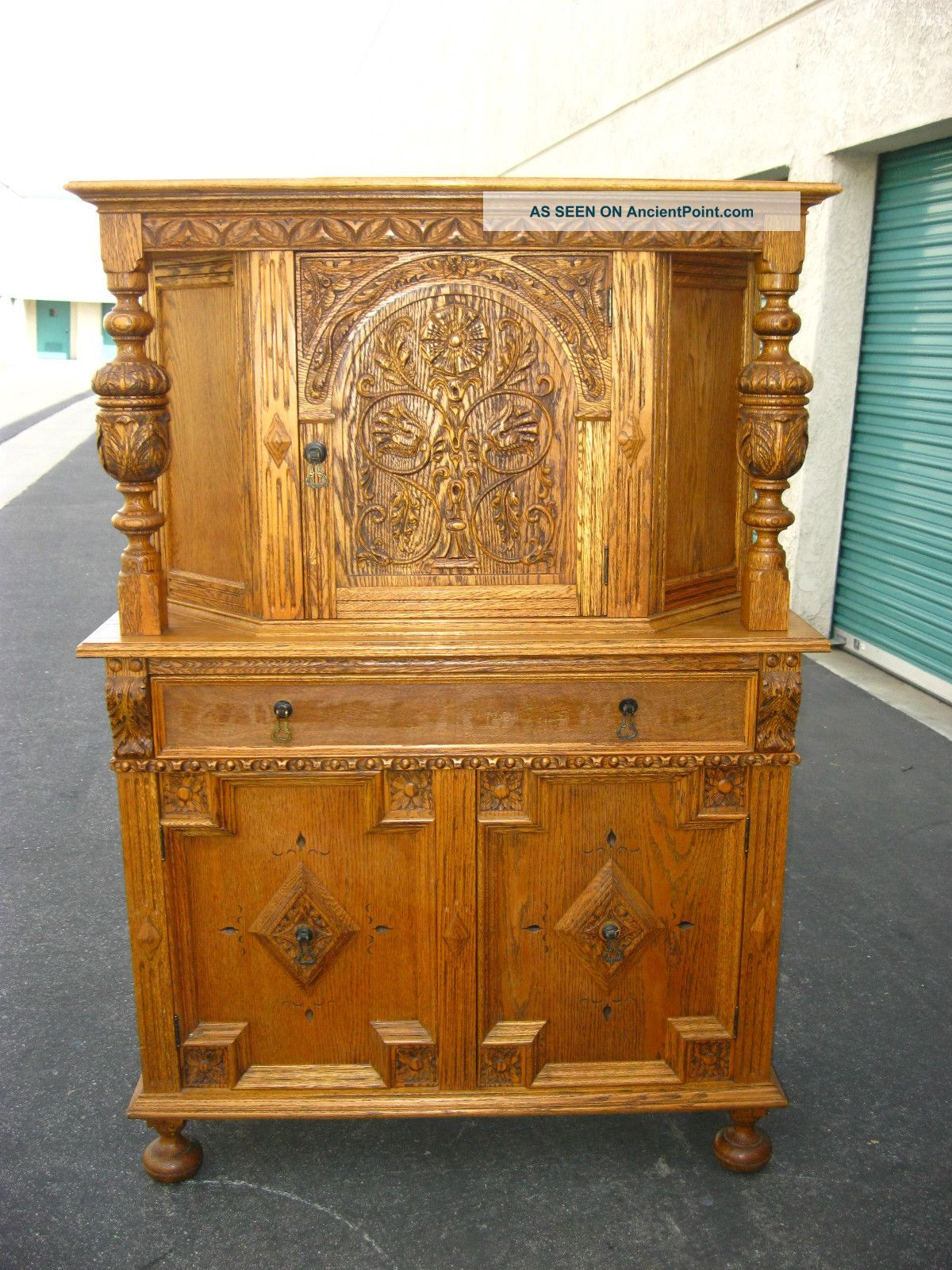 2of3 Vintage French Country Ornate Oak