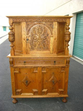 (2of3) Vintage French Country Ornate Oak Server Hutch Buffet Cabinet / Wine Rack photo