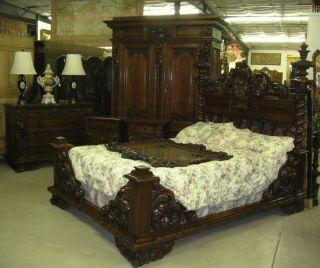 Antique Carved Italian Walnut Mid 19th Century Six Piece Queen Bedroom Suite photo