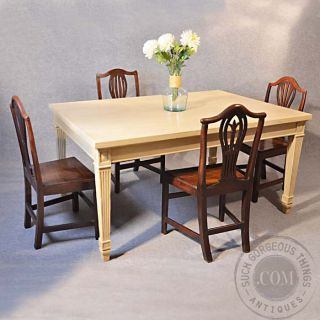 Antique Large Kitchen Dining Table 4 - 6 Seater Painted Finish C1800 photo