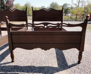 Pair Of Antique C.  1935 Solid Cherry Chippendale Matching Twin Bed photo
