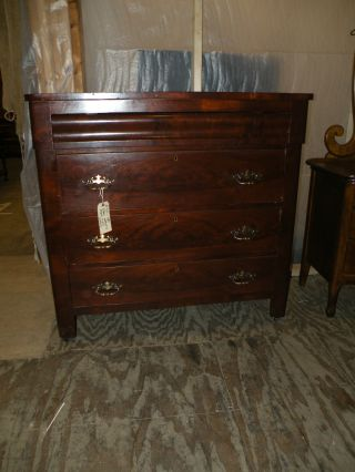 Large Antique Empire Bedroom Chest Mahogany Dresser photo