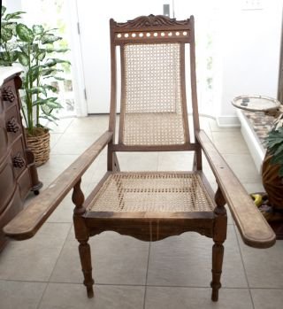 Antique Plantation Planter ' S Chair Cane Back Seat Long Arm Teak British Colonial photo
