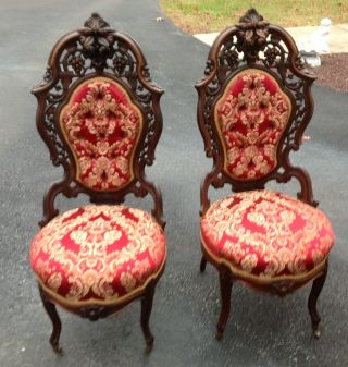 Pair Of J.  J.  W Meeks Laminated Rosewood Rococo Hawkins Side Chairs photo