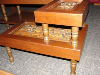 Mid Century Carved Asian / Oriental 2 Tier Side Table Hollywood Glam photo