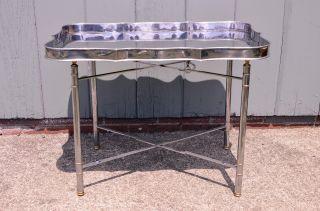 Hollywood Regency Chrome Folding X Base Tray Table Mid Century Modern Vintage photo