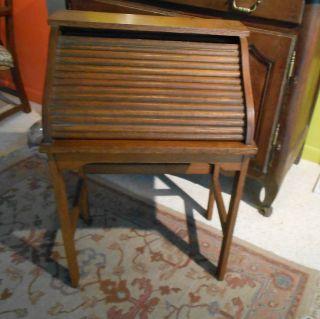 Antique Childrens Oak C Roll Top Desk Finish Cute Photo