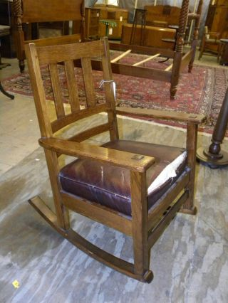 Antique Mission Oak Arts And Crafts Style Rocking Chair Rocker photo