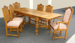 (1of3) Vintage Ornate French Country Renaissance Style Diningroom Table & Chairs photo