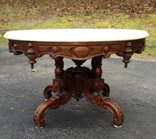 Victorian Walnut Oval Marble Top Coffee Table,  Attr.  Thomas Brooks photo