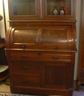 Special Antique Burled Walnut Cyndrical Roll Top Bookcase Bureau Beauty photo