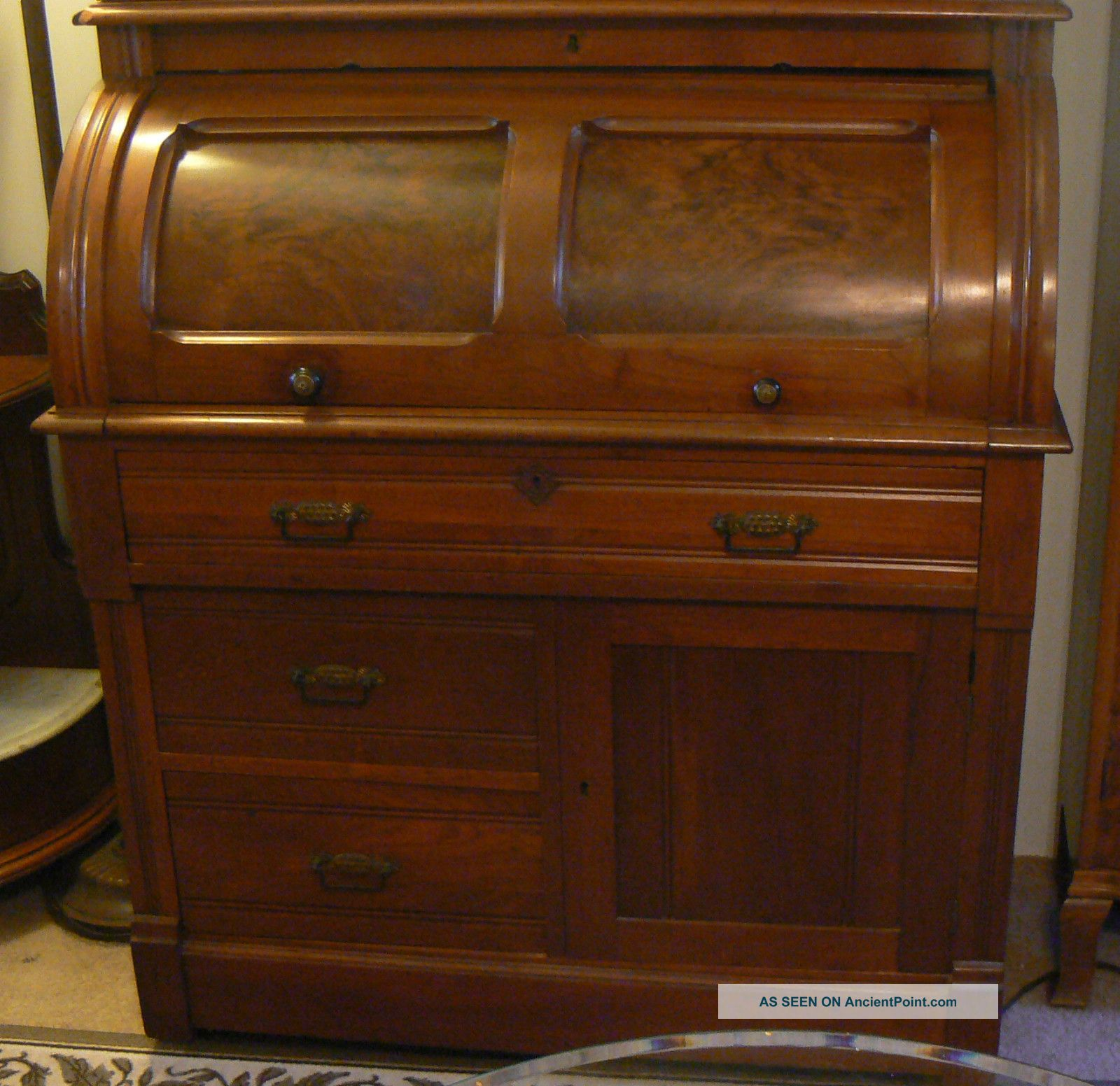 Antique Roll Top Secretary Desk Image And Candle