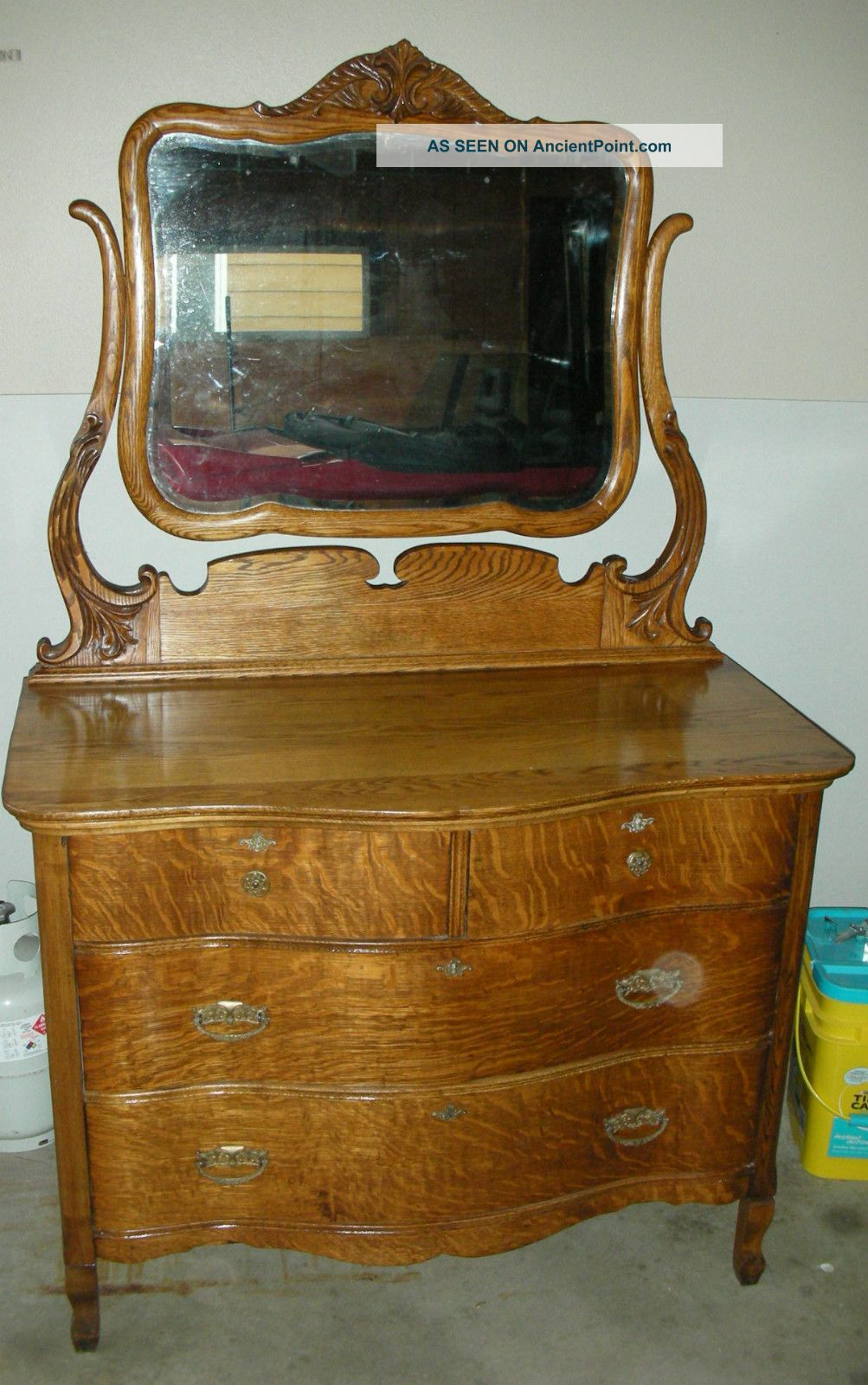 1901 Arts Crafts Tiger Oak Serpentine Dresser W Mirror