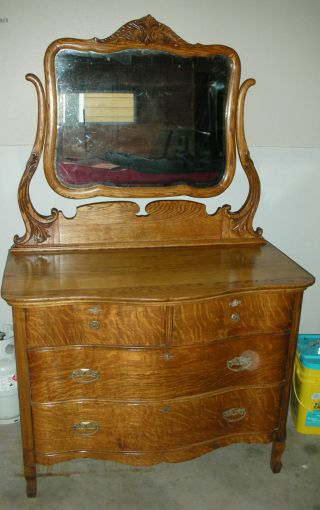 1901 Arts & Crafts Tiger Oak Serpentine Dresser W/ Mirror photo