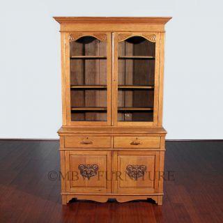 7ft Tall Antique English Golden Oak Victorian Bookcase Curio Showcase C1899 C66 photo
