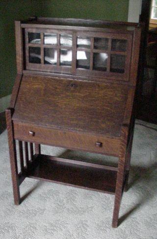 Antique Mission Oak Drop Leaf Desk W/ Bookcase Arts & Crafts Secretary All Orig. photo