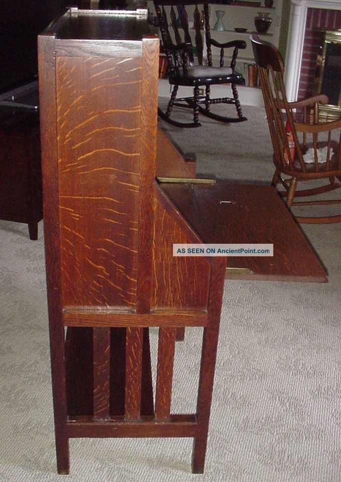 Antique Mission Oak Drop Leaf Desk W Bookcase Arts Crafts Secretary All Orig