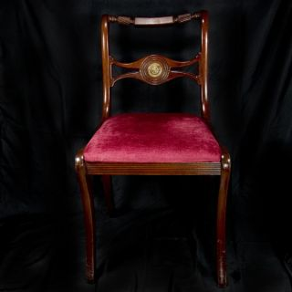 Vintage Chippendale Style Mahogany Side Chair Red Cushion,  Scroll Medallion photo