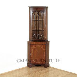 Vintage Inlaid Mahogany Corner Bookcase Cabinet Curio Display C1960's P82b photo