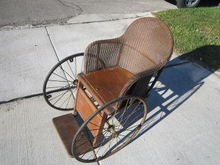 Vintage Gendron 3 Wheel Wheelchair Antique Wood & Wicker Wheelchair photo