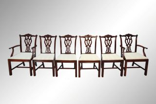 15950 Antique Set Of Six Carved Chippendale Dining Chairs - Twin Arms photo