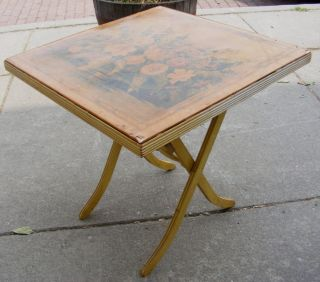Vintage Decorative Folding Wooden Card Table W/ Yellow Flowers On Top Wood photo