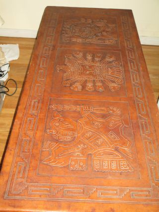 Rare,  Stunning Spanish Coffee Table; Intricate Leather - Embossed Aztec Design photo