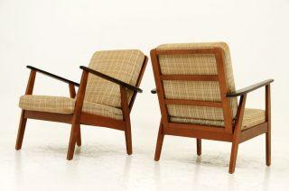 Pair Beech & Teak Lounge Chairs photo