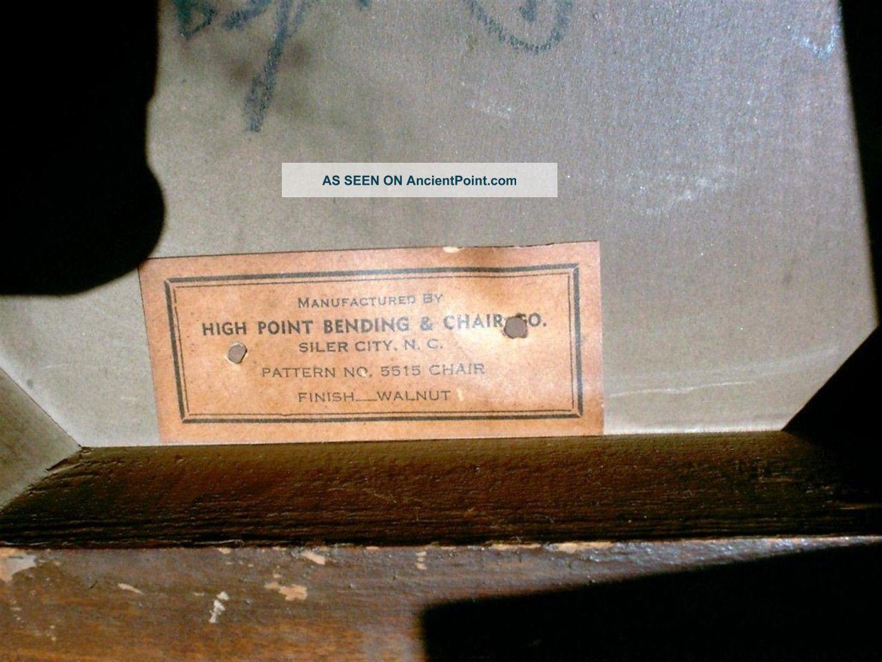 vintage antique wooden desk chair walnut wood high point bending