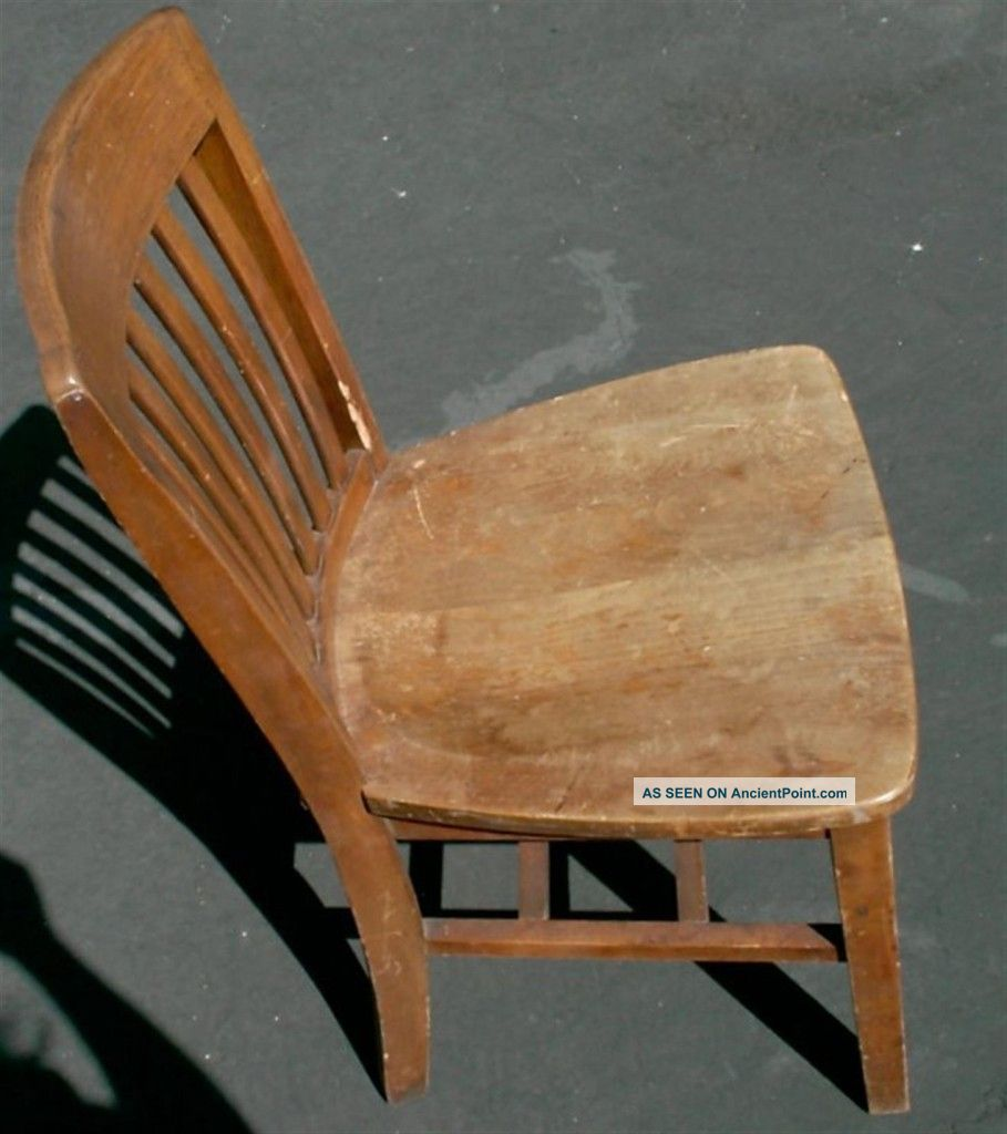 Vintage Antique Wooden Desk Chair Walnut Wood High Point Bending Office  School