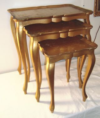3 Nesting Tables Set Gold Wood Florentine Vintage Made In Italy Table photo