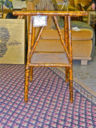 Antique Tortoise Bamboo Side Table With Square Top And Shelf photo